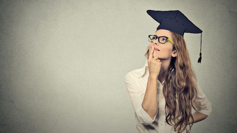 absolventka, rozmýšľanie, plánovanie, snívanie,...