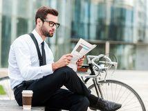 práca, bicykel, čítanie, muž, zamestnanec