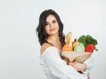 žena, potraviny, nákup, úsmev