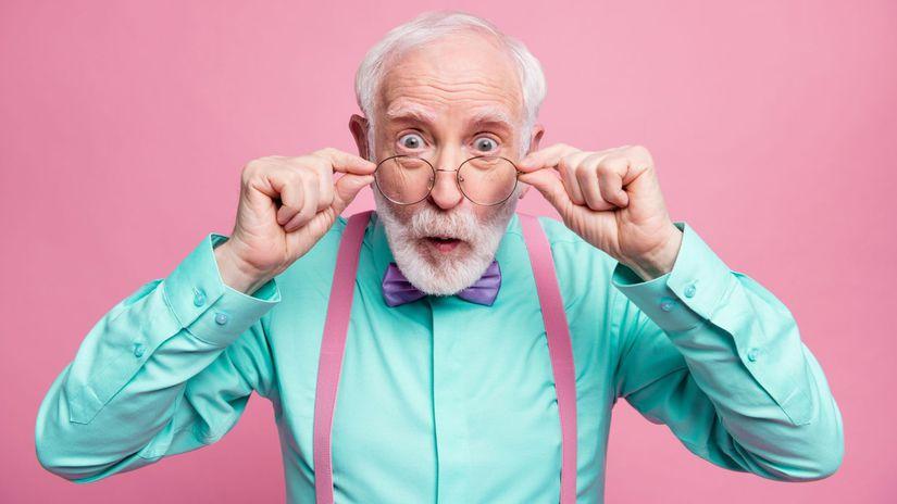 dedko, penzista, dôchodca, prekvapenie
