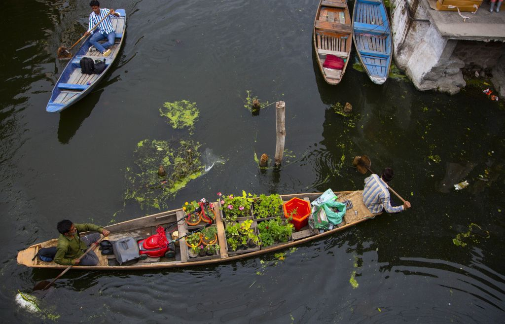 India, Kašmír, loď, čln