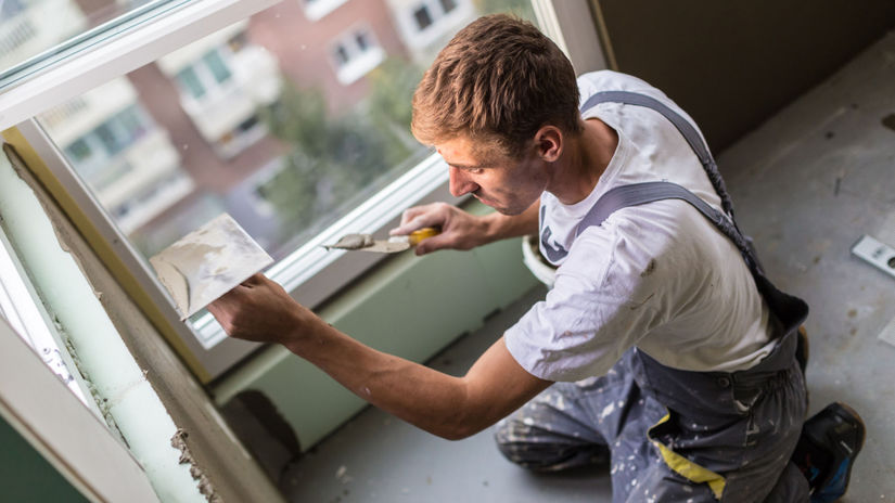 muž, murár, oprava steny