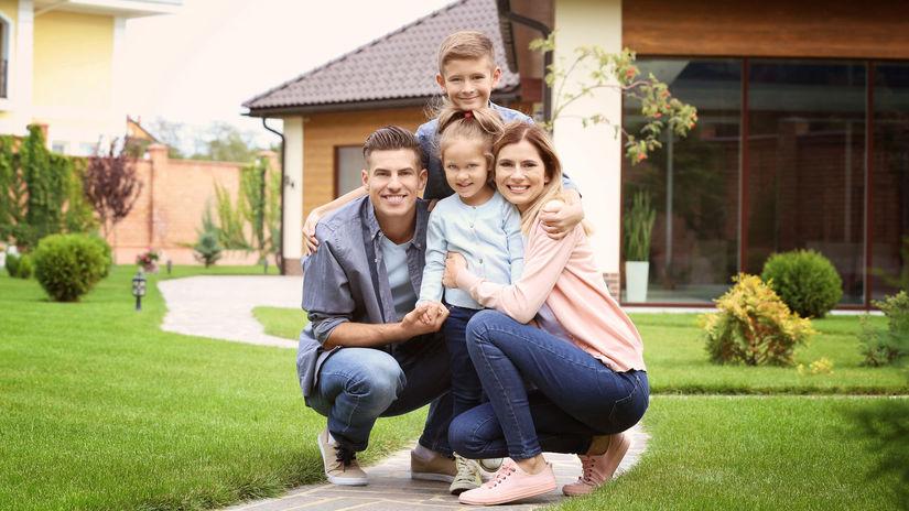 rodina, dom, záhrada, radosť, bývanie
