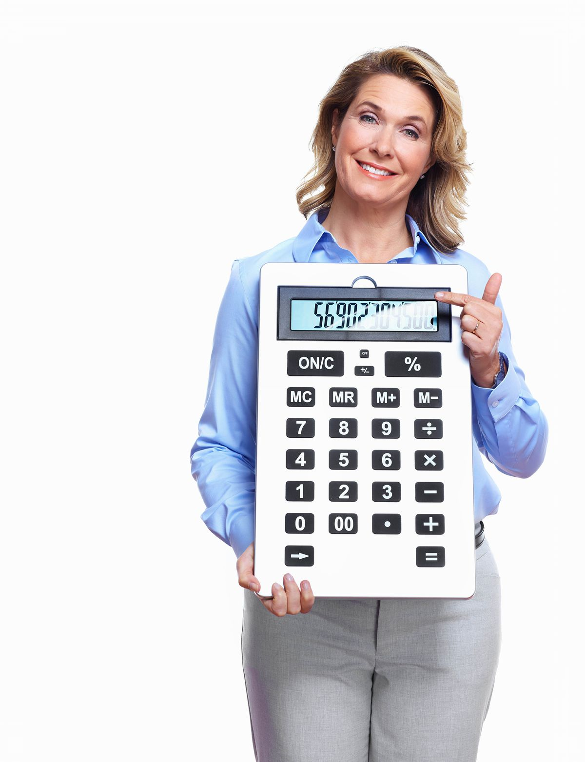 účtovníčka, kalkulačka, počítanie, úsmev,...