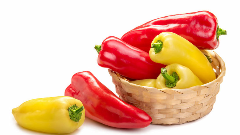 red and yellow pointed paprika in a basket....