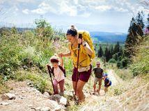 rodina, turistika, príroda, pohyb, leto