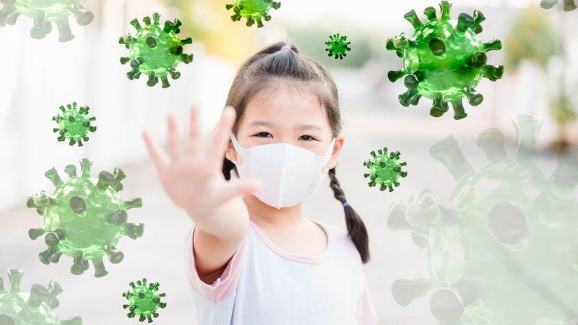 dievčatko, covid-19, vírus, rúško