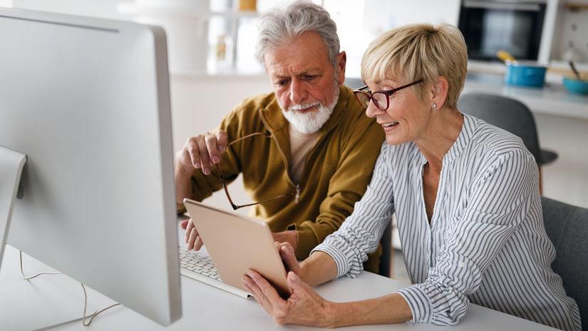 manželia, vysvetľovanie, tablet, počítač,...