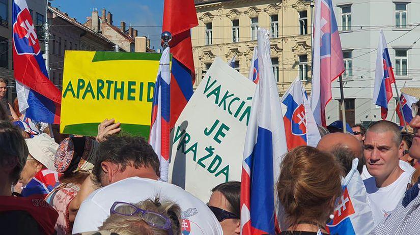 protest proti zvýhodňovaniu očkovaných,...