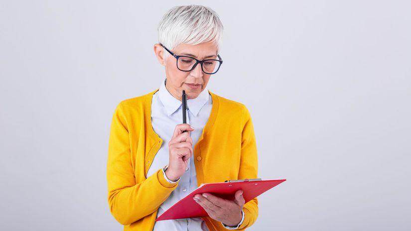 žena, rozmýšľanie, papier