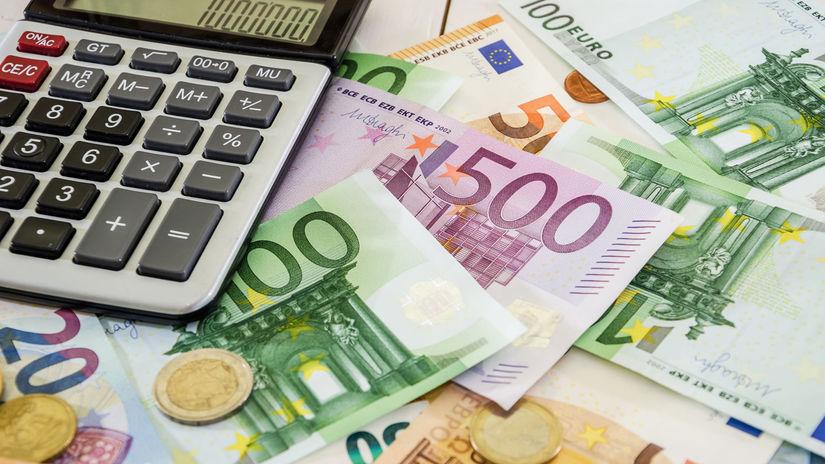 euro, bankovky, mince, kalkulačka
