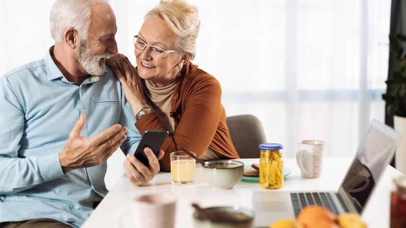 seniori, manželia, mobil, radosť, rozhovor,...