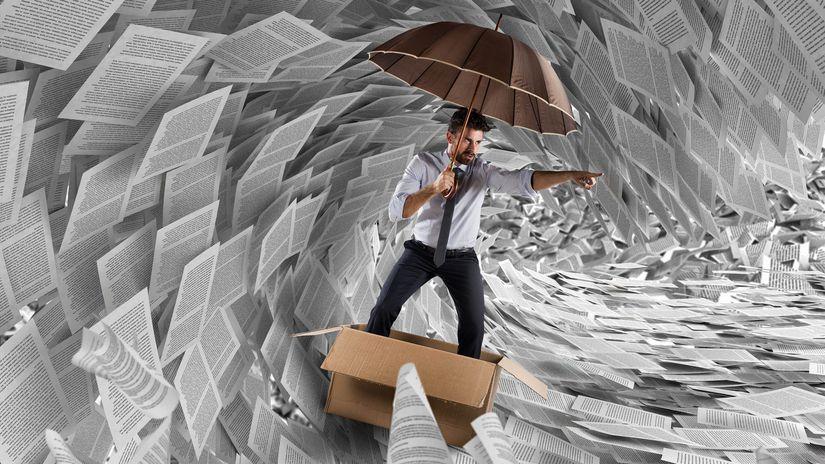 búrka, byrokracia, papiere, satira
