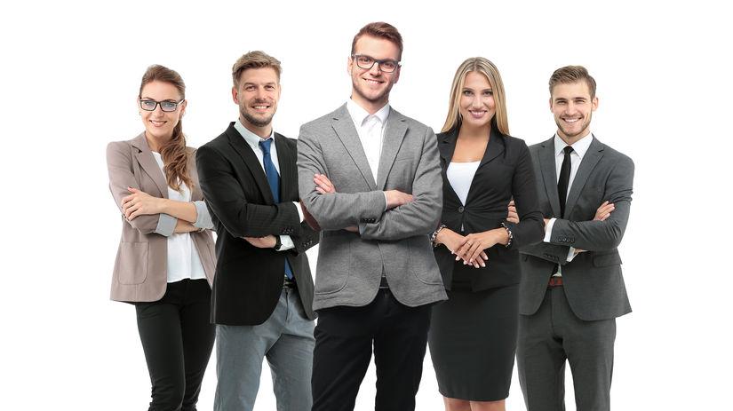 skupina, kolegovia, tím, úsmev