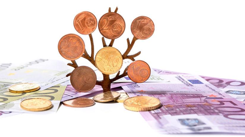 euro, peniaze, mince, bankovky, strom