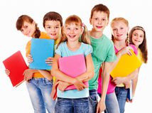 deti, žiaci, spolužiaci, skupina, kamaráti