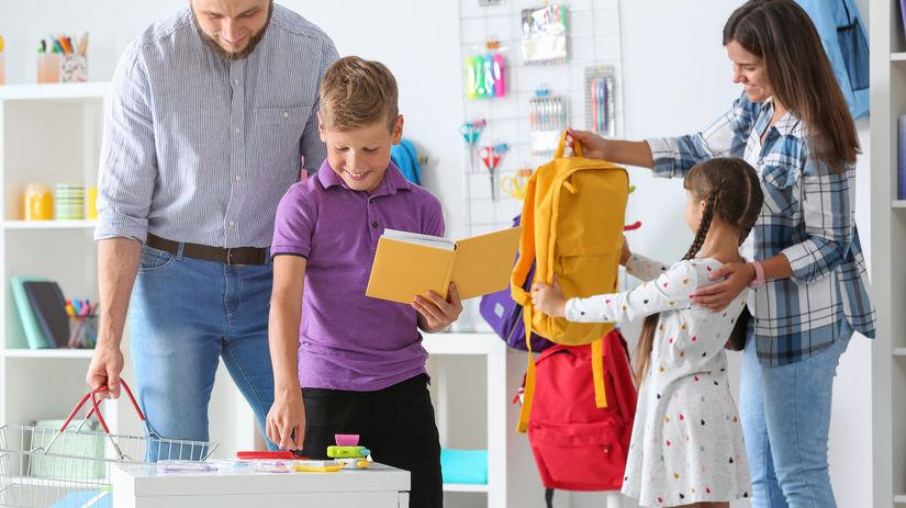 rodičia, deti, školské pomôcky, nákup