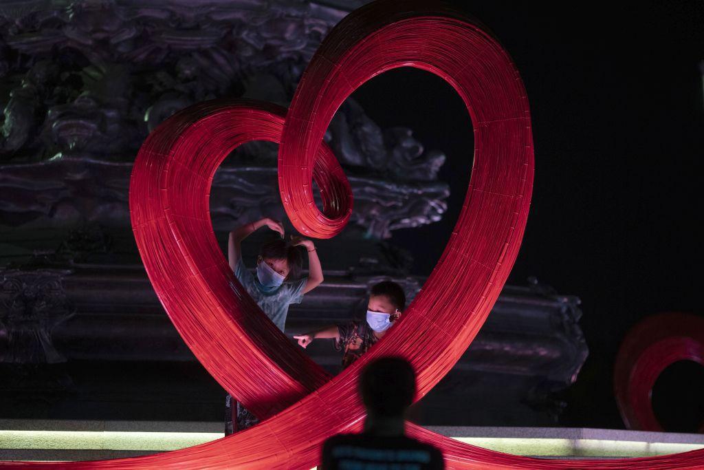 Čína, srdce, rúška