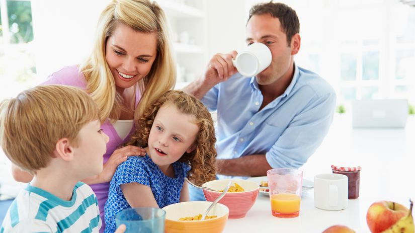 raňajky, rodina, zdravá strava