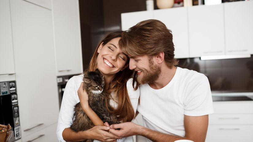 mačka, pár, láska, muž, žena, kuchyňa