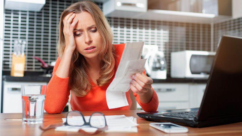 žena, účty, problém, starosti, dlh