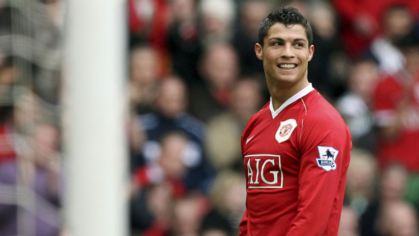 Cristiano Ronaldo smiles during his team's 4-1...