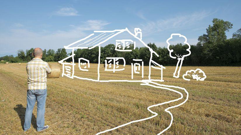 pole, dom, plánovanie, snívanie, muž,...