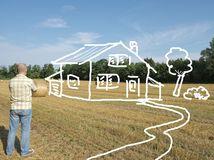 pole, dom, plánovanie, snívanie, muž, zamyslený, rozmýšľanie,