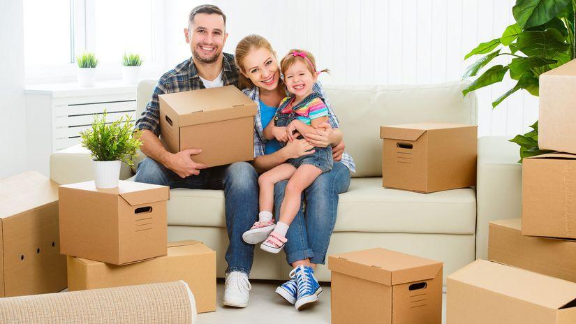 rodina, sťahovanie, škatule, krabice, radosť,...