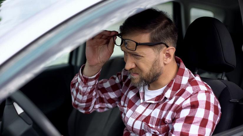 vodič, šofér, okuliare, zrak, únava očí