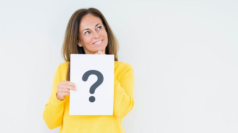 žena, otáznik, otázka, rozmýšľanie