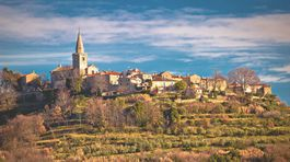Idyllic hill village of Groznjan view, landscape and architecture of Istria, Croatia