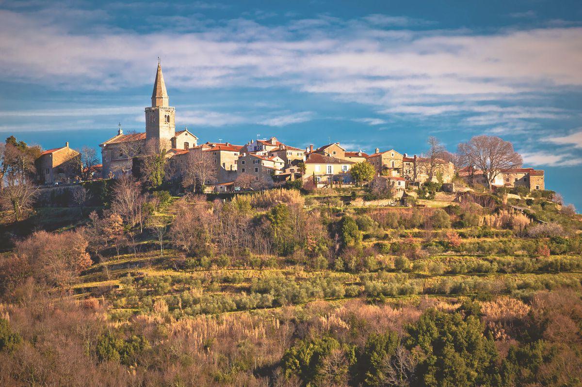 Idyllic hill village of Groznjan view,...