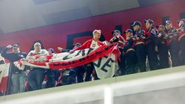 Polish fans during the match in Tirana.