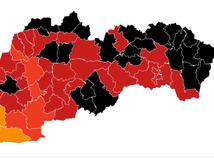 Od pondelka bude v čiernej farbe až 24 okresov. Oranžových zostáva len osem